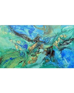 Large abstract painting art, with gold leaf (2021)