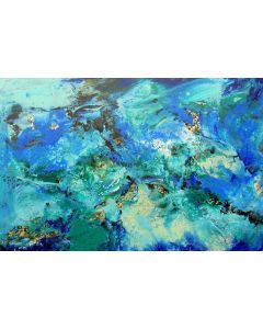 Extra large modern abstract painting art, with gold leaf