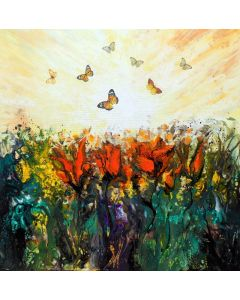 Spring sun large painting art with flowers and butterflies