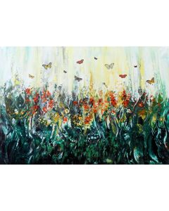 Spring landscape wildflowers and butterflies large modern painting art