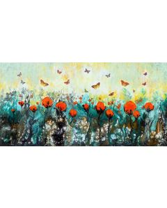 Breath of Spring - Extra large modern landscape painting art with flowers and butterflies