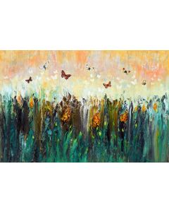 Spring morning - Large abstract landscape with butterflies and wildflowers, original modern artwork