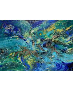Abstract painting art, with gold leaf - Utopia