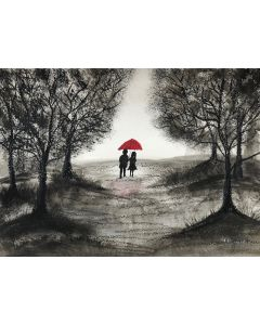 Love couple with red umbrella in forest A4