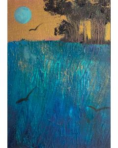 Once in a blue moon - original oil in a mount