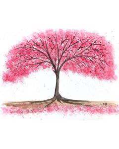 Delicate pink cherry blossom tree
