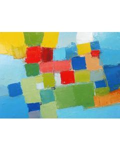 COASTAL COLOUR FIELDS & BLUE SEA ABSTRACT. Original Oil Painting. Varnished.
