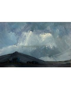 A light in the sky - Peak District landscape ( original oil painting within a mount )