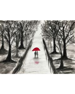 Love couple with red umbrella nr8