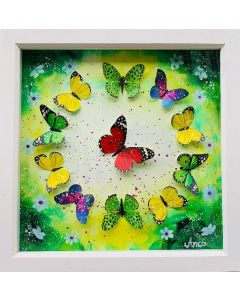 Framed floral Painting with 3D hand painted Butterflies, oil painting, 3D butterfly decor, 3D butterflies,