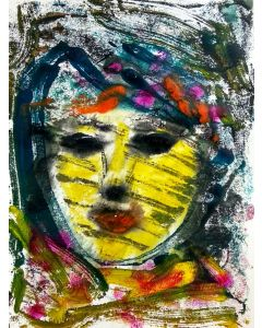 Portrait of a woman - The Face VI - One of a kind Mono Type Print on paper