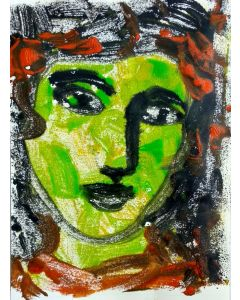 """The Face VII - One of a kind Mono Type Print on paper 11""""x 8.25"""""""