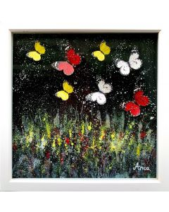 Framed  Painting with 3D hand painted Butterflies and silver texture, oil painting, 3D butterfly decor, 3D butterflies, black and white art