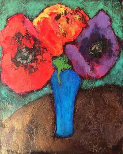 Bright Poppies Floral Still Life Painting.