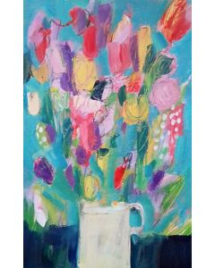 Spring Flowers in a White Vase