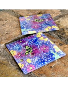 Floral Glass Drinks Coasters | Butterfly Art Wine Mats | Decorative Table & Kitchenware Glass Tile