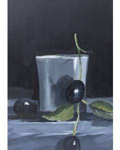 Sweet black grapes and vase