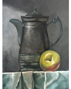 Silver jug and apple