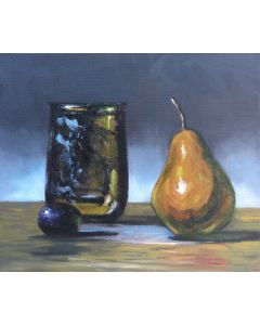 Glass pear and grape