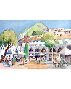 Gibraltar, Casemate Square. Buildings, People, Cafes