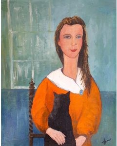 Girl with Black  Cat and Cameo