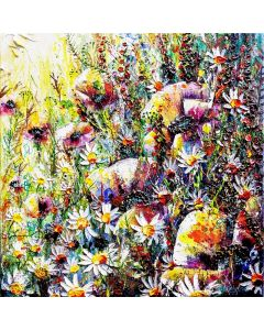 professional impressionist art of wildflowers in a meadow with sunlight.