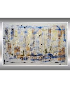 Golden Water II - Abstract acrylic artwork in frame