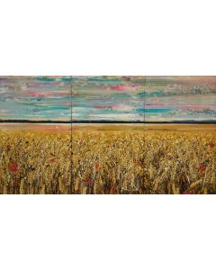 Golden Wheat Fields - Large painting on three panels (Triptych)