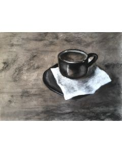 Morning Coffee Charcoal Drawing Still Life.