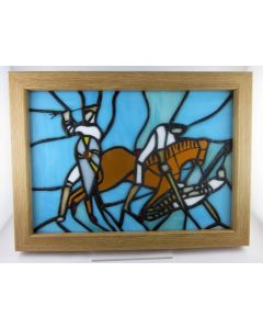 Battle Of Hastings Stained Glass Art Tiffany Handmade Framed Stained Glass Panel