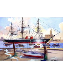 HMS Warrior, Portsmouth. Metal Steam and Sailing Ship, Fishing Boats. Sea