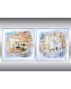 Il Silenzio - Acrylic abstract painting in frame, structured artwork