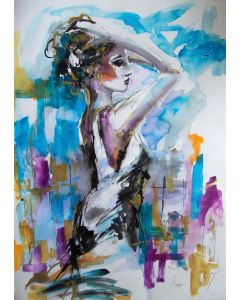 That Moment II - Woman painting on paper