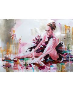 Sweet Surrender - Ballerina acrylic-mixed media painting on paper.