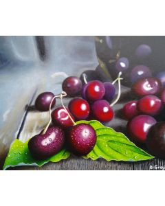 Cherries on a table 16