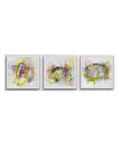 LOOKING FOR A GOOD TIME I ACRYLIC, WAX ON WOOD I COLOURFUL ABSTRACTS I SET OF 3