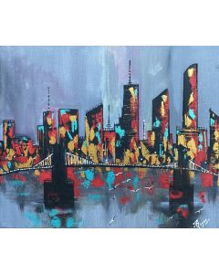 Modern City With Bridge Night Abstract Painting