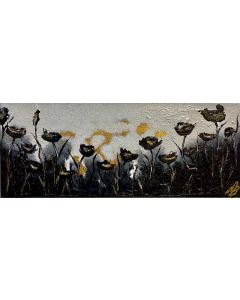 Black and White Poppies on Gold leaf