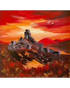 Red Sunset over Corfe Castle