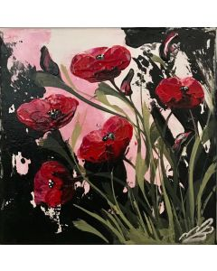 Red Poppies and Green Leaves