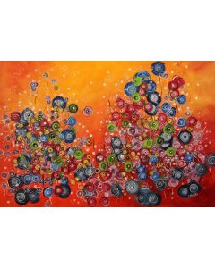 Crazystorm #1- Large original floral abstract painting