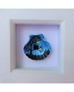 Owls Painting on Shell (Framed)