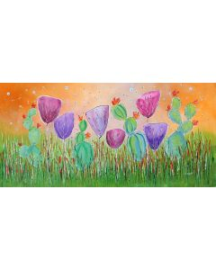 Young Folks -Prickly Friends#2 - Large original floral painting