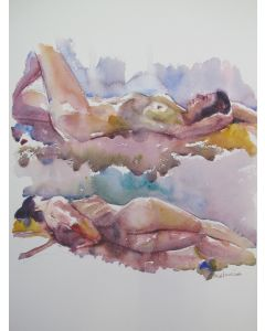 Reclining female nude 2 poses