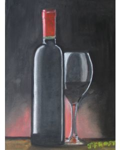 Bottle of claret with glass