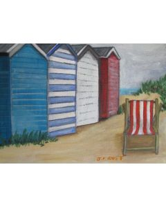 Beach huts with deck chair