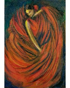 The Flamenco Dancer in Red Oil Pastel on A4 pastel paper
