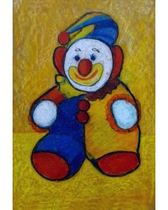 The Smiling Clown - oil pastel drawing on handmade paper