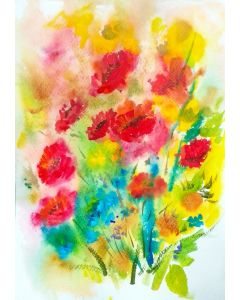 Red Poppies painting - Acrylic inks on paper