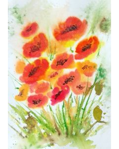 Red Poppies in the wild acrylic inks mixed-media on paper